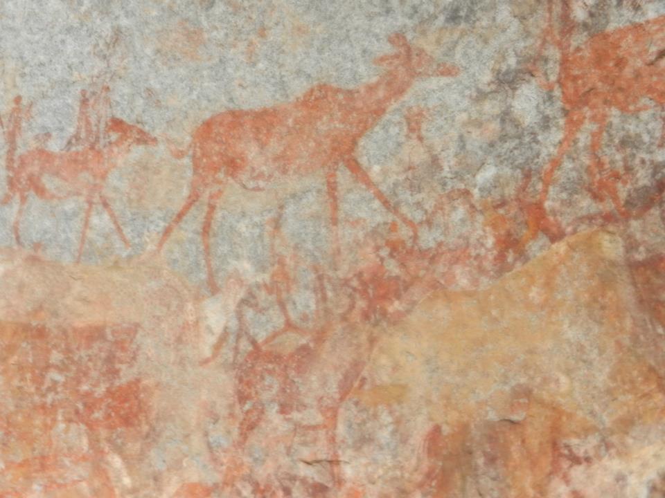 Cave painting in Matobo National Park, Zimbabwe.